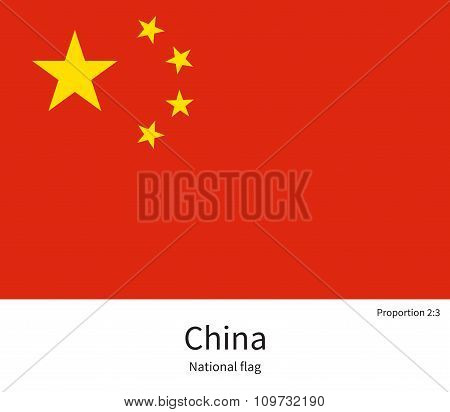 National flag of China with correct proportions, element, colors