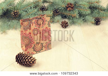 Branches Of Blue Spruce, Cones And Paper Shopping Gift Bag