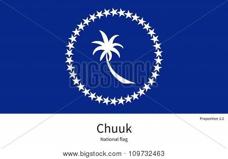 National flag of Chuuk with correct proportions, element, colors