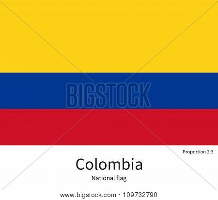 National flag of Colombia with correct proportions, element, colors
