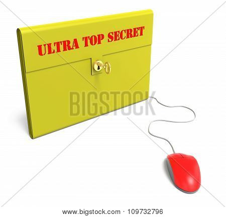 Yellow Ultra Top Secret Briefcase With Computer Mouse
