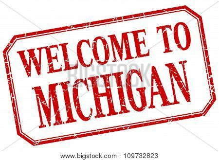Michigan - Welcome Red Vintage Isolated Label