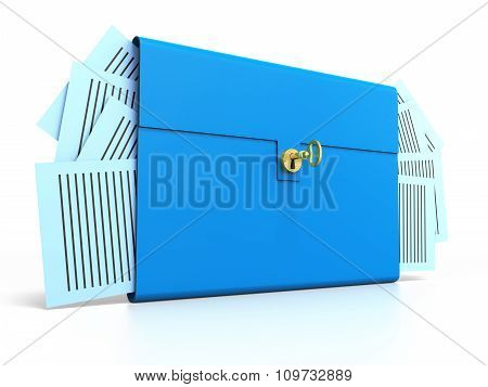 Blue Brief Case With Gold Key. Isolated On White Background.