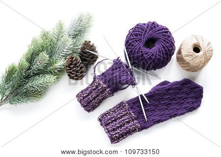 Mitten, Yarn And Christmas Decoration