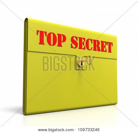 Yellow Top Secret Briefcase. Isolated On White Background