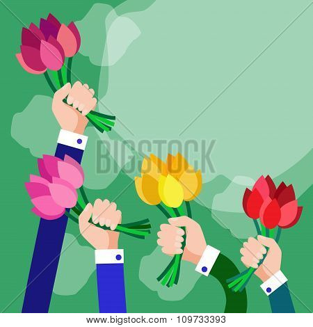 Bouquet Flowers Business Hands Group Copy Space