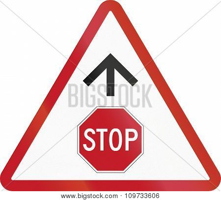Road Sign In The Philippines - Stop Sign Ahead