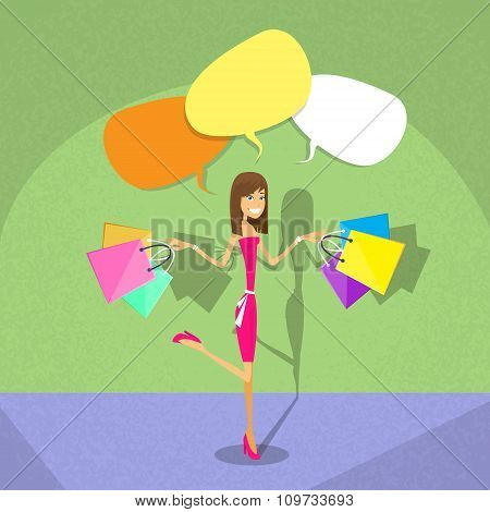 Shopping Woman Chat Bubble Copy Space Communication