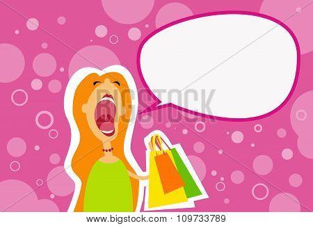 Cartoon Shopping Woman Scream Open Mouth Chat