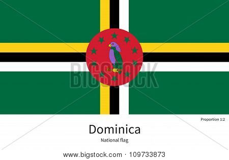 National flag of Dominica with correct proportions, element, colors