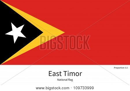 National flag of East Timor with correct proportions, element, colors