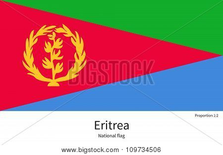 National flag of Eritrea with correct proportions, element, colors