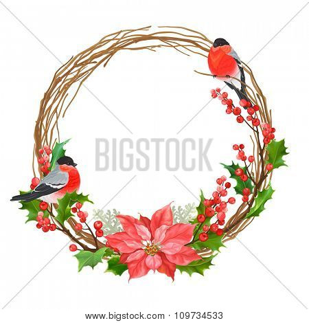 Christmas wreath with bullfinches, dry branches, flower Poinsettia, winter red berries and holly.