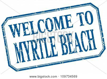 Myrtle Beach - Welcome Blue Vintage Isolated Label