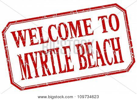 Myrtle Beach - Welcome Red Vintage Isolated Label