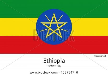National flag of Ethiopia with correct proportions, element, colors