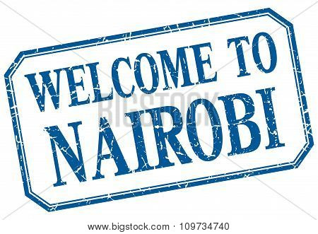 Nairobi - Welcome Blue Vintage Isolated Label