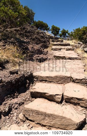 Stone Steps, Leading Up, On A Tourist Track In The Mountains Of Madeira