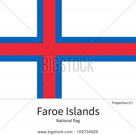 National flag of Faroe Islands with correct proportions, element, colors