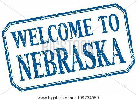 Nebraska - Welcome Blue Vintage Isolated Label