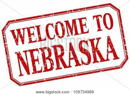 Nebraska - Welcome Red Vintage Isolated Label