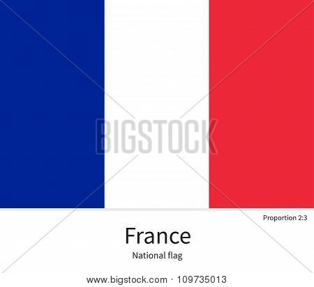 National flag of France with correct proportions, element, colors