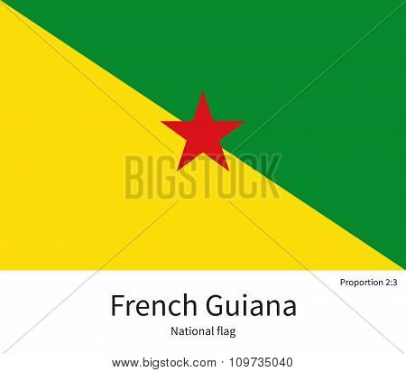 National flag of French Guiana with correct proportions, element, colors