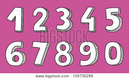 Vector numbers isolated on pink background