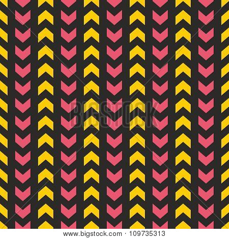 Tile vector pattern with yellow and pink arrows on black background