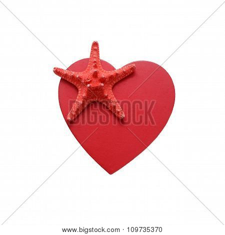 pink starfish on a red heart