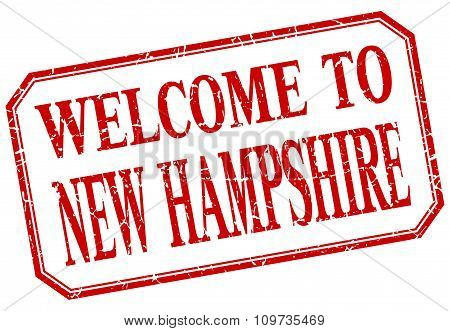 New Hampshire - Welcome Red Vintage Isolated Label