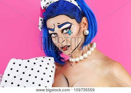 Portrait Model Makeup With Blue Wig, On Pink Background, Pop Concept