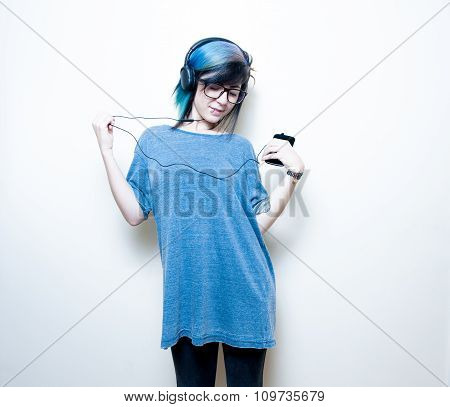 Pretty Young Teen Woman Happy While Listening Music