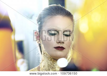 Glamour Fashion Makeup Model Portrait, Gilded Body Paint
