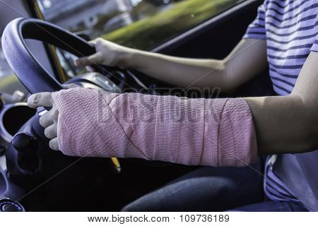 Driving Car On Empty Road,driving Splint Hand