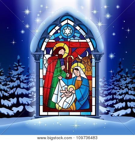 Illuminated stained glass window depicting Christmas scene in gothic frame against the night winter spruce forest in snow under starry sky