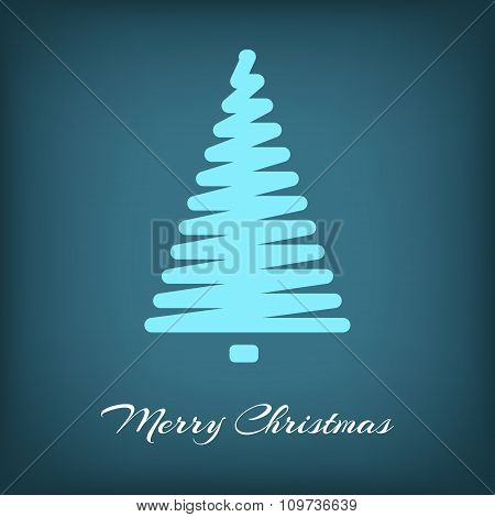 Simple blue vector Christmas tree in outlines shape.