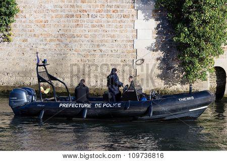 Police Patrol Boat On Seine River.