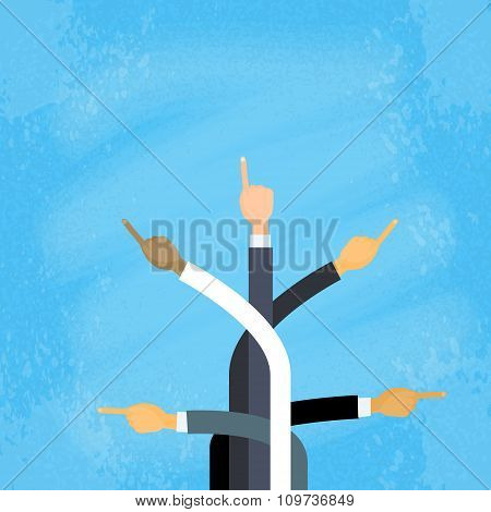 Business Hands Point Finger Concept Flat Vector