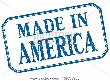 America - Made In Blue Vintage Isolated Label