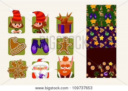 Vector set of characters and icons for Christmas in cartoon style. Gifts and sweets, gingerbread, sn