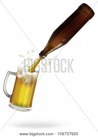 Pour beer. Beer bottle. Mug with beer. vector