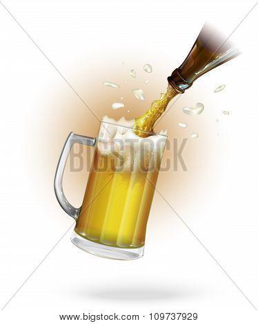 Pour beer. Beer bottle. Mug with beer. vector