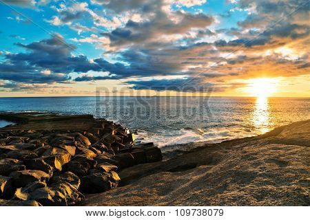 View on the rocks and sea in sunset time  in Tenerife, Canary Islands, Spain