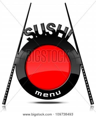 Sushi Menu - Banner With Chopsticks