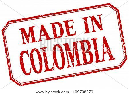 Colombia - Made In Red Vintage Isolated Label
