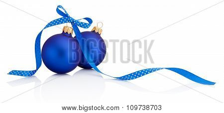 Two Blue Christmas Balls With Ribbon Bow Isolated On White Background