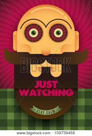 Guy with spooky eyes. Vector illustration.