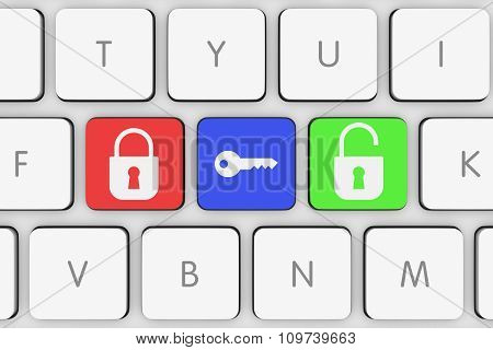 Lock And Unlock Icons On White Computer Keyboard