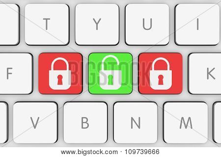 Lock And Unlock Icon Buttons On White Computer Keyboard